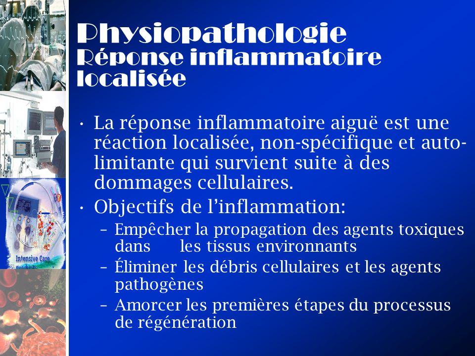 Physiopathologie Réponse inflammatoire localisée La réponse inflammatoire aiguë est une réaction localisée, non-spécifique et auto- limitante qui survient suite à des dommages cellulaires.