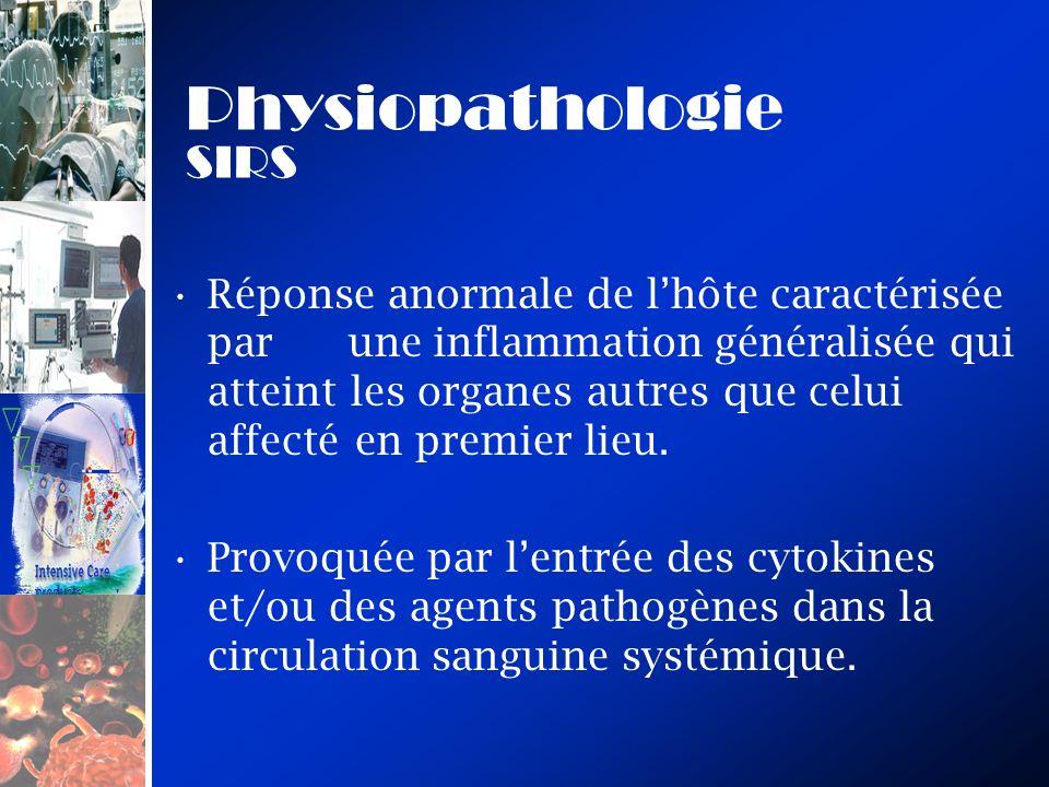 Physiopathologie SIRS Réponse anormale de lhôte caractérisée par une inflammation généralisée qui atteint les organes autres que celui affecté en premier lieu.