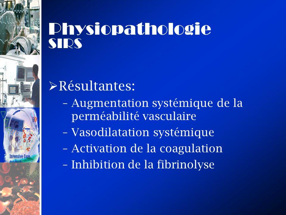 Physiopathologie SIRS Résultantes: –Augmentation systémique de la perméabilité vasculaire –Vasodilatation systémique –Activation de la coagulation –In