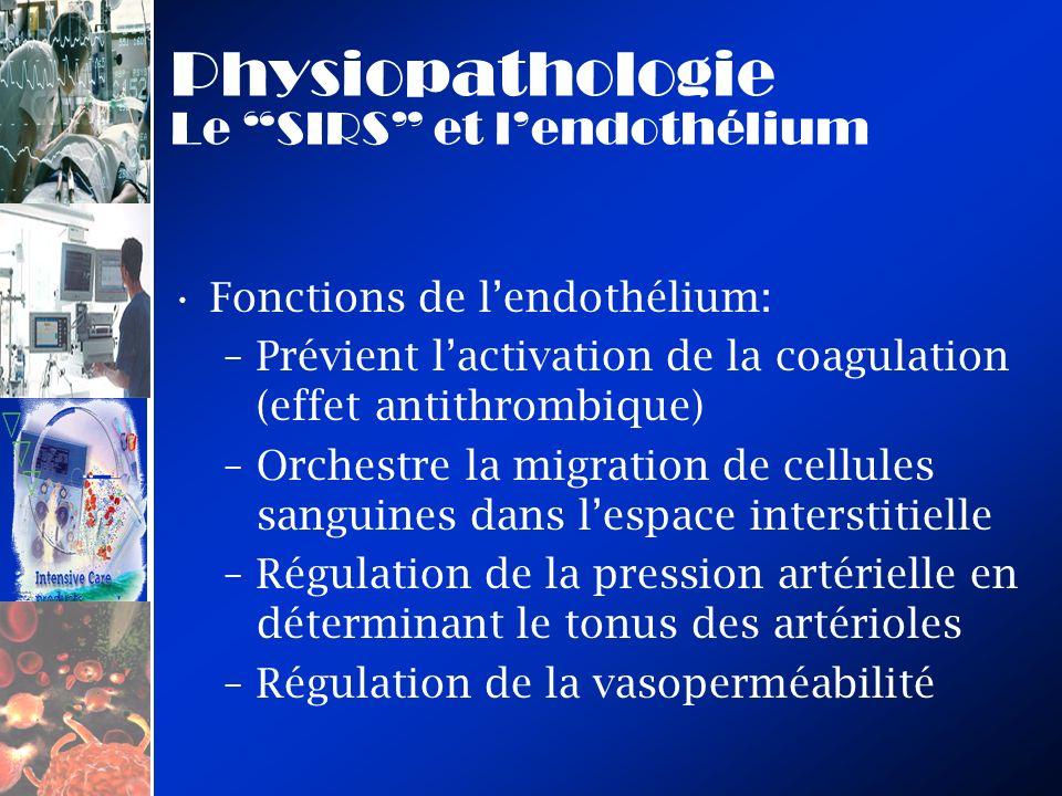 Physiopathologie Le SIRS et lendothélium Fonctions de lendothélium: –Prévient lactivation de la coagulation (effet antithrombique) –Orchestre la migra