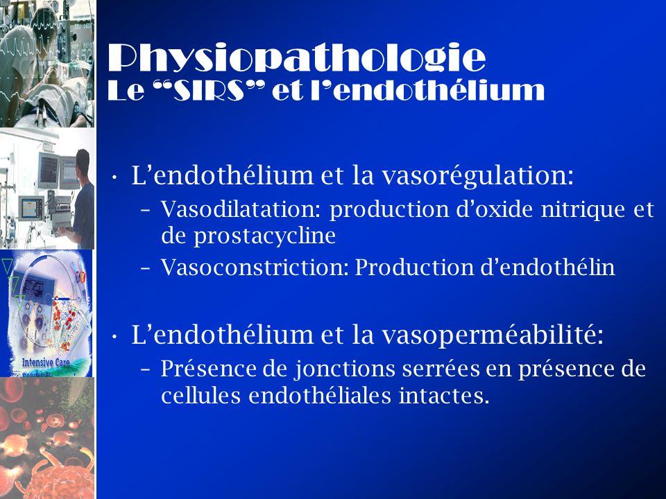 Physiopathologie Le SIRS et lendothélium Lendothélium et la vasorégulation: –Vasodilatation: production doxide nitrique et de prostacycline –Vasoconst