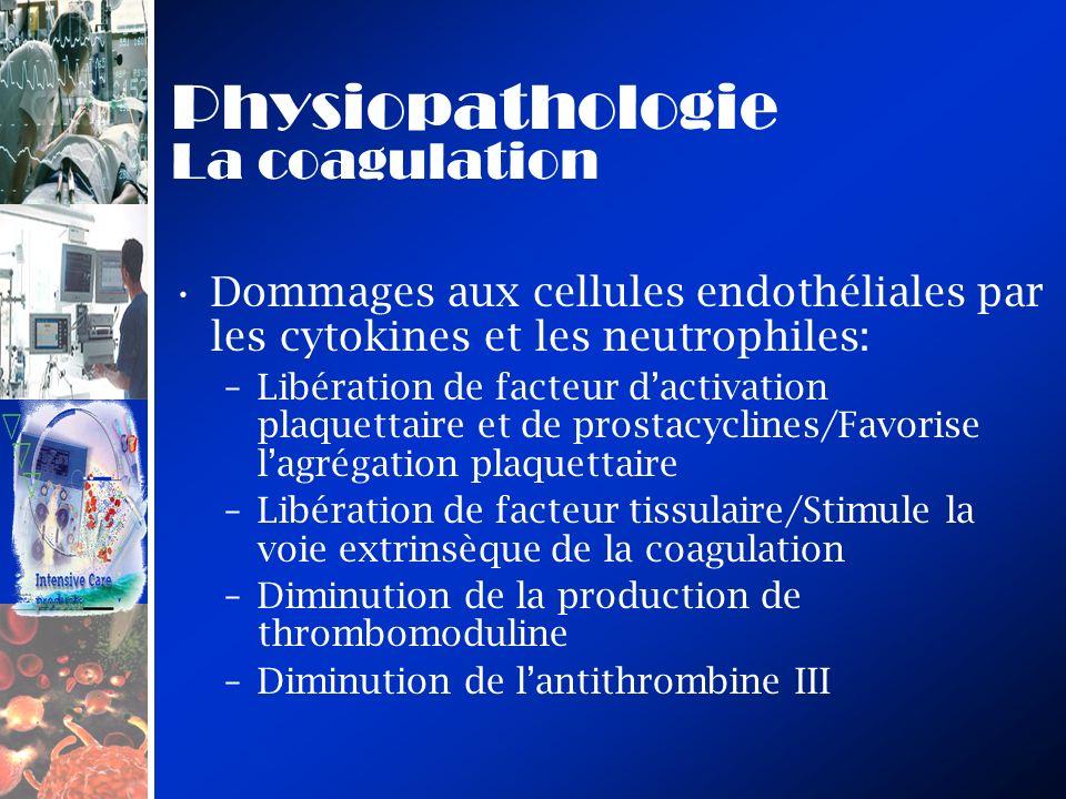 Dommages aux cellules endothéliales par les cytokines et les neutrophiles: –Libération de facteur dactivation plaquettaire et de prostacyclines/Favori