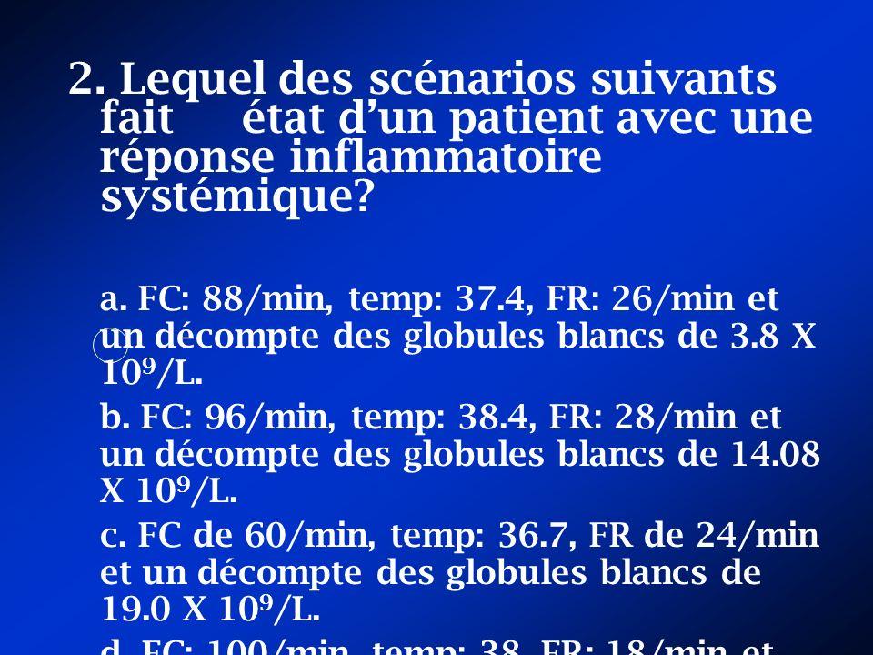 2. Lequel des scénarios suivants fait état dun patient avec une réponse inflammatoire systémique? a. FC: 88/min, temp: 37.4, FR: 26/min et un décompte