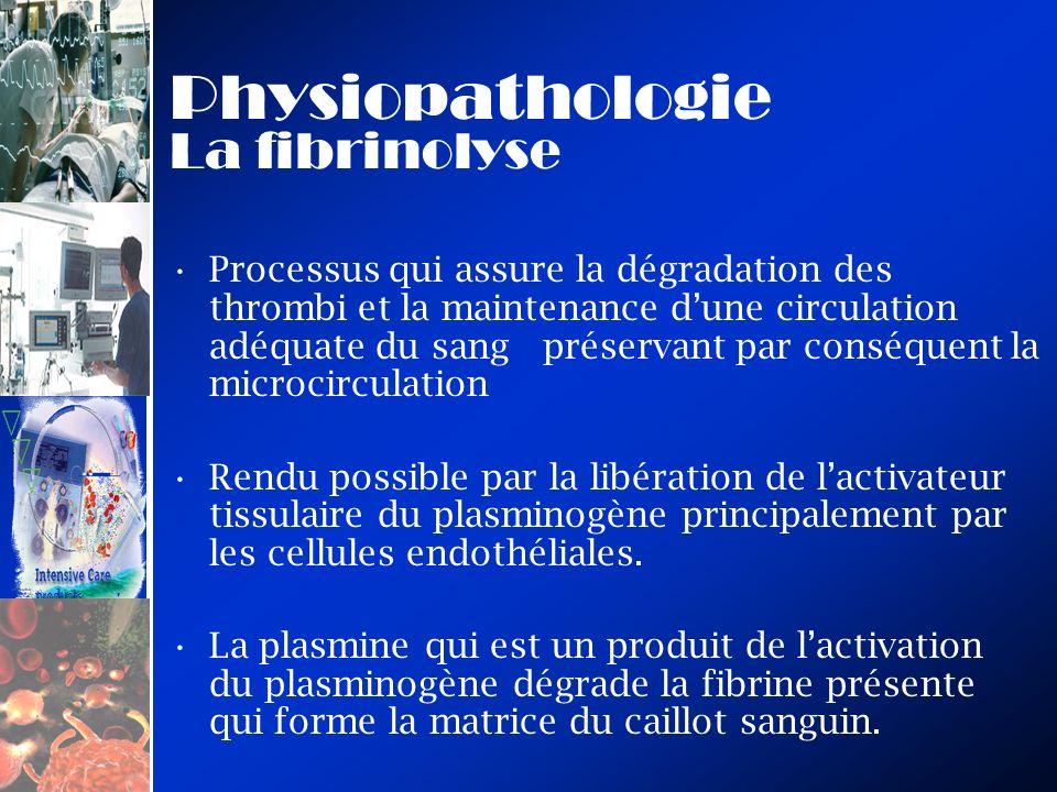 Physiopathologie La fibrinolyse Processus qui assure la dégradation des thrombi et la maintenance dune circulation adéquate du sang préservant par con