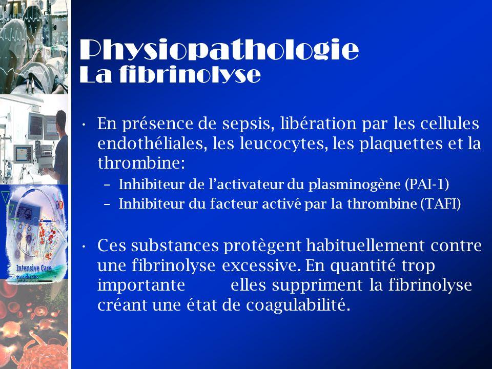 Physiopathologie La fibrinolyse En présence de sepsis, libération par les cellules endothéliales, les leucocytes, les plaquettes et la thrombine: –Inhibiteur de lactivateur du plasminogène (PAI-1) –Inhibiteur du facteur activé par la thrombine (TAFI) Ces substances protègent habituellement contre une fibrinolyse excessive.