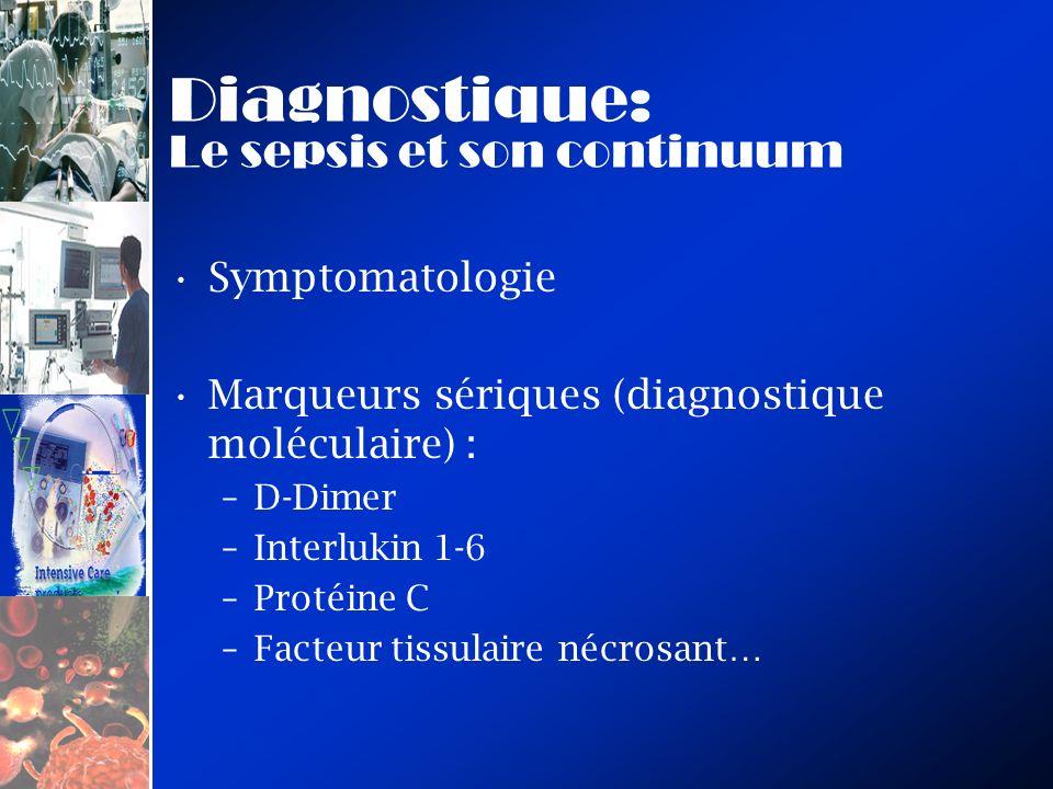 Diagnostique: Le sepsis et son continuum Symptomatologie Marqueurs sériques (diagnostique moléculaire) : –D-Dimer –Interlukin 1-6 –Protéine C –Facteur tissulaire nécrosant…