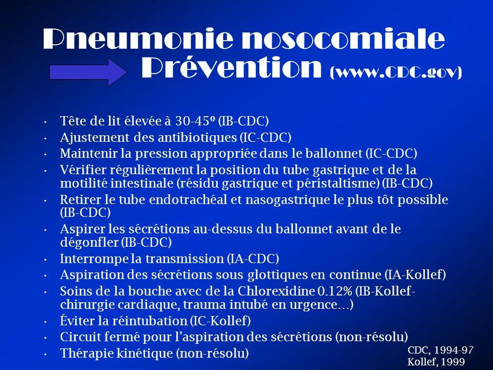 Pneumonie nosocomiale Prévention (www.CDC.gov) Tête de lit élevée à 30-45º (IB-CDC) Ajustement des antibiotiques (IC-CDC) Maintenir la pression appropriée dans le ballonnet (IC-CDC) Vérifier régulièrement la position du tube gastrique et de la motilité intestinale (résidu gastrique et péristaltisme) (IB-CDC) Retirer le tube endotrachéal et nasogastrique le plus tôt possible (IB-CDC) Aspirer les sécrétions au-dessus du ballonnet avant de le dégonfler (IB-CDC) Interrompe la transmission (IA-CDC) Aspiration des sécrétions sous glottiques en continue (IA-Kollef) Soins de la bouche avec de la Chlorexidine 0.12% (IB-Kollef- chirurgie cardiaque, trauma intubé en urgence…) Éviter la réintubation (IC-Kollef) Circuit fermé pour laspiration des sécrétions (non-résolu) Thérapie kinétique (non-résolu) CDC, 1994-97 Kollef, 1999