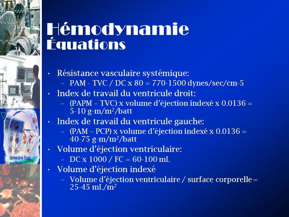 Hémodynamie Équations Résistance vasculaire systémique: –PAM - TVC / DC x 80 = 770-1500 dynes/sec/cm-5 Index de travail du ventricule droit: –(PAPM – TVC) x volume déjection indexé x 0.0136 = 5-10 g-m/m 2 /batt Index de travail du ventricule gauche: –(PAM – PCP) x volume déjection indexé x 0.0136 = 40-75 g-m/m 2 /batt Volume déjection ventriculaire: –DC x 1000 / FC = 60-100 mL Volume déjection indexé –Volume déjection ventriculaire / surface corporelle = 25-45 mL/m 2