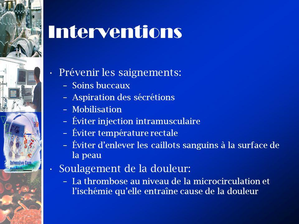 Interventions Prévenir les saignements: –Soins buccaux –Aspiration des sécrétions –Mobilisation –Éviter injection intramusculaire –Éviter température
