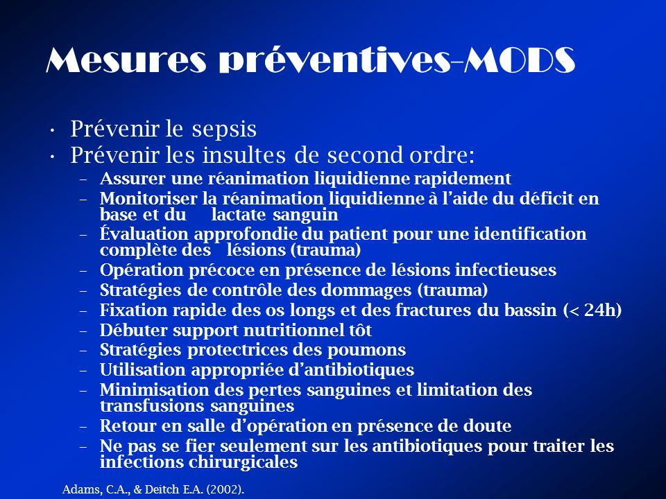 Mesures préventives-MODS Prévenir le sepsis Prévenir les insultes de second ordre: –Assurer une réanimation liquidienne rapidement –Monitoriser la réa