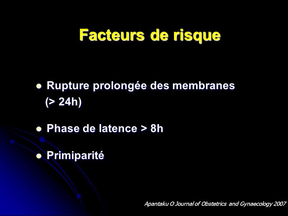 Facteurs de risque Facteurs de risque Rupture prolongée des membranes Rupture prolongée des membranes (> 24h) (> 24h) Phase de latence > 8h Phase de l