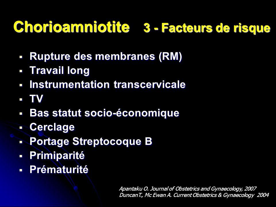 Chorioamniotite 3 - Facteurs de risque Rupture des membranes (RM) Rupture des membranes (RM) Travail long Travail long Instrumentation transcervicale