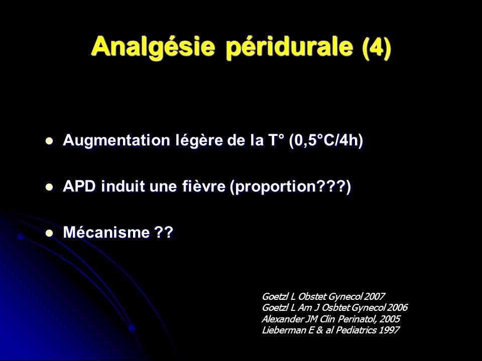 Analgésie péridurale (4) Augmentation légère de la T° (0,5°C/4h) Augmentation légère de la T° (0,5°C/4h) APD induit une fièvre (proportion???) APD ind