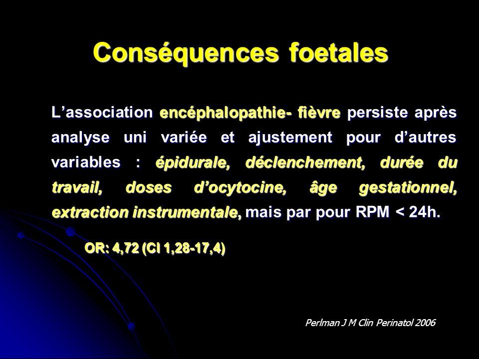 Conséquences foetales Lassociation encéphalopathie- fièvre persiste après analyse uni variée et ajustement pour dautres variables : épidurale, déclenc