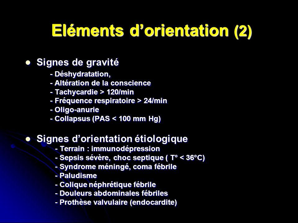 Eléments dorientation (2) Eléments dorientation (2) Signes de gravité Signes de gravité - Déshydratation, - Déshydratation, - Altération de la conscie