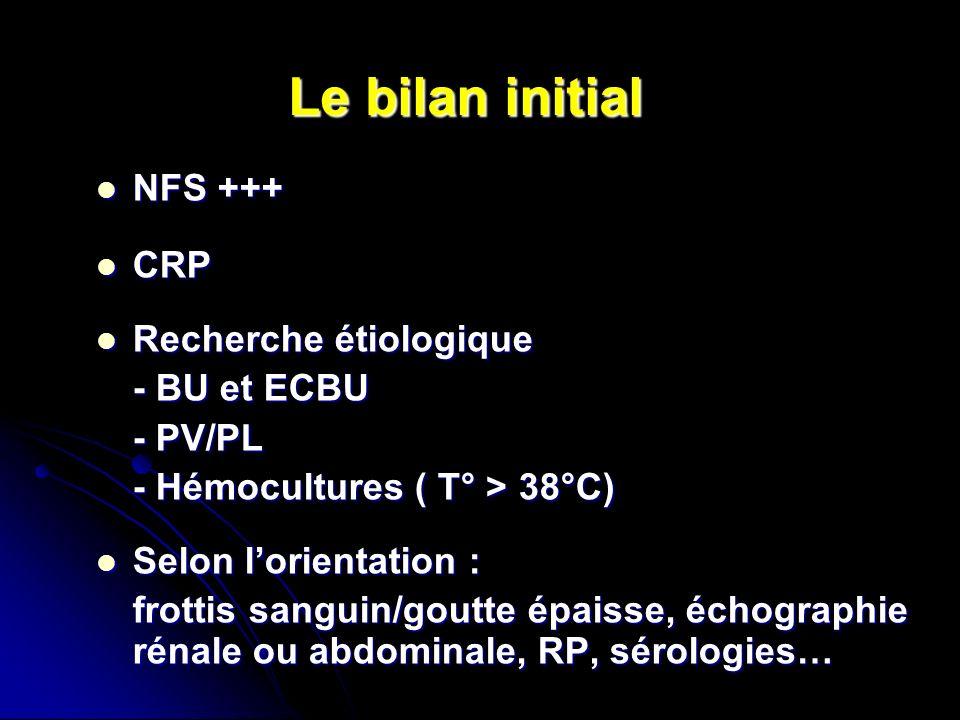 Le bilan initial NFS +++ NFS +++ CRP CRP Recherche étiologique Recherche étiologique - BU et ECBU - PV/PL - Hémocultures ( T° > 38°C) Selon lorientati