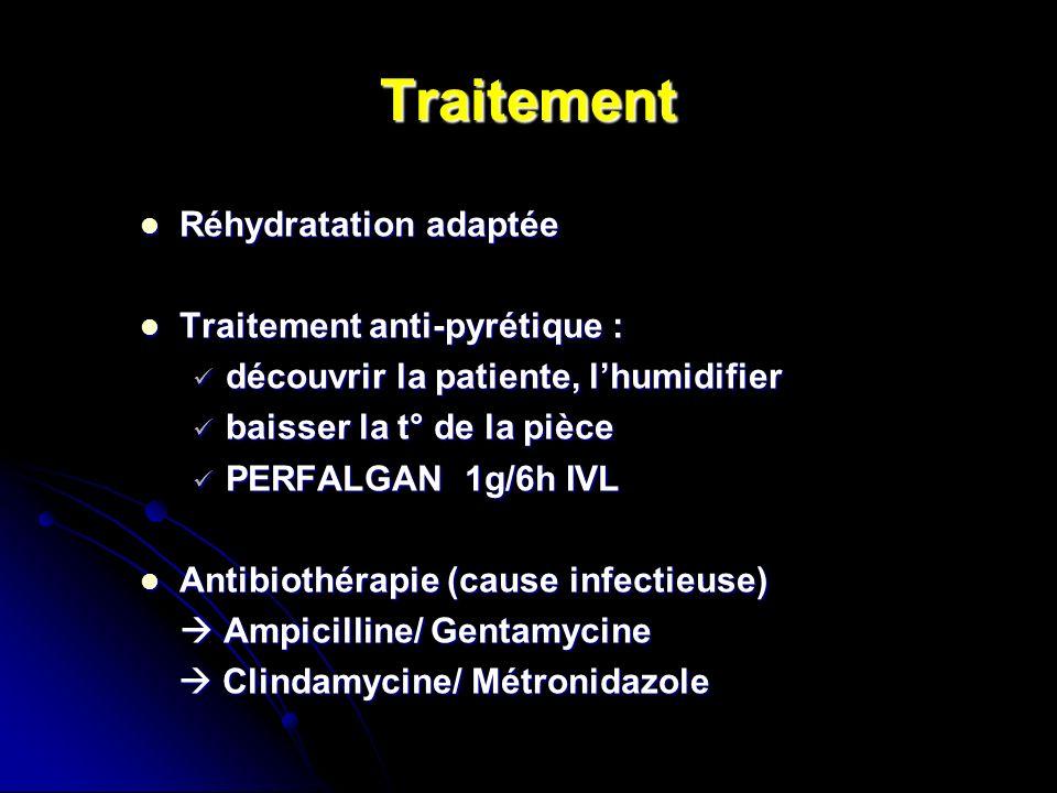 Traitement Réhydratation adaptée Réhydratation adaptée Traitement anti-pyrétique : Traitement anti-pyrétique : découvrir la patiente, lhumidifier déco