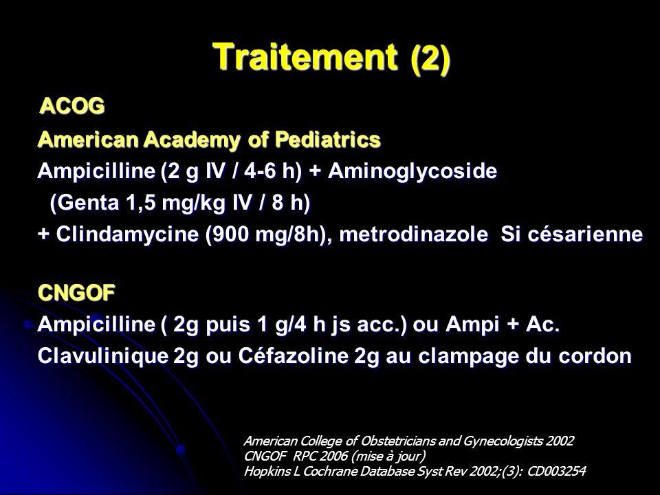 Traitement (2) ACOG ACOG American Academy of Pediatrics American Academy of Pediatrics Ampicilline (2 g IV / 4-6 h) + Aminoglycoside Ampicilline (2 g