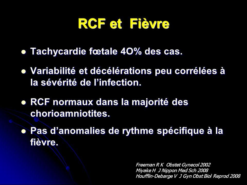 RCF et Fièvre Tachycardie fœtale 4O% des cas. Tachycardie fœtale 4O% des cas. Variabilité et décélérations peu corrélées à la sévérité de linfection.