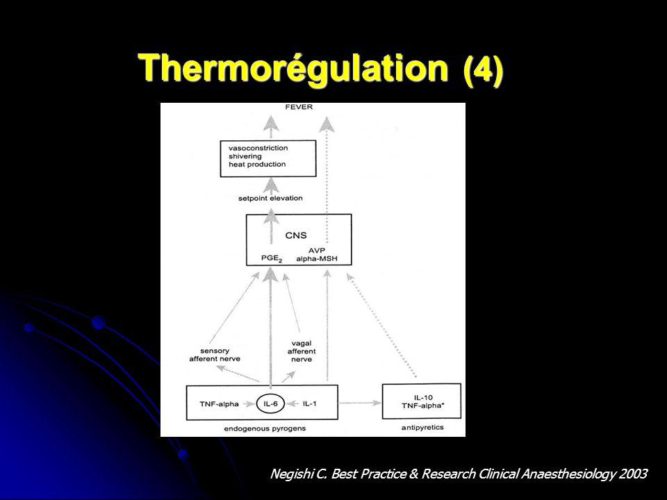 Perturbation de la thermorégulation Perturbation de la thermorégulation centrale Perturbation de la thermorégulation centrale - Altération des afférences centrales - Altération des afférences centrales Blocage de la sensation de chaud Blocage de la sensation de chaud Impression centrale de froid Impression centrale de froid - Elévation de la valeur cible hypothalamique - Elévation de la valeur cible hypothalamique