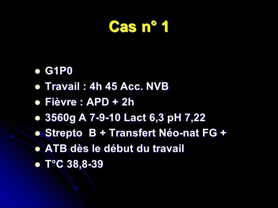 Cas n° 1 G1P0 G1P0 Travail : 4h 45 Acc. NVB Travail : 4h 45 Acc. NVB Fièvre : APD + 2h Fièvre : APD + 2h 3560g A 7-9-10 Lact 6,3 pH 7,22 3560g A 7-9-1