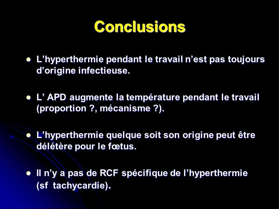 Conclusions Lhyperthermie pendant le travail nest pas toujours dorigine infectieuse. Lhyperthermie pendant le travail nest pas toujours dorigine infec