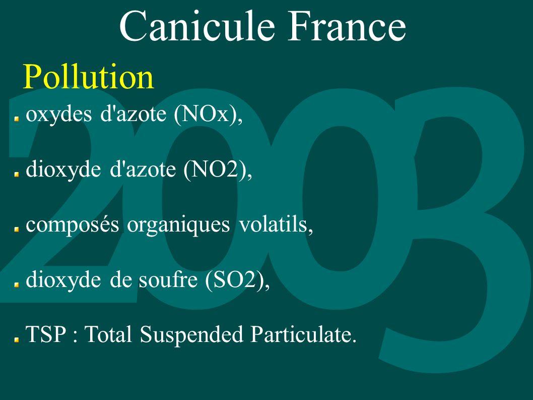 Canicule France oxydes d'azote (NOx), dioxyde d'azote (NO2), composés organiques volatils, dioxyde de soufre (SO2), TSP : Total Suspended Particulate.