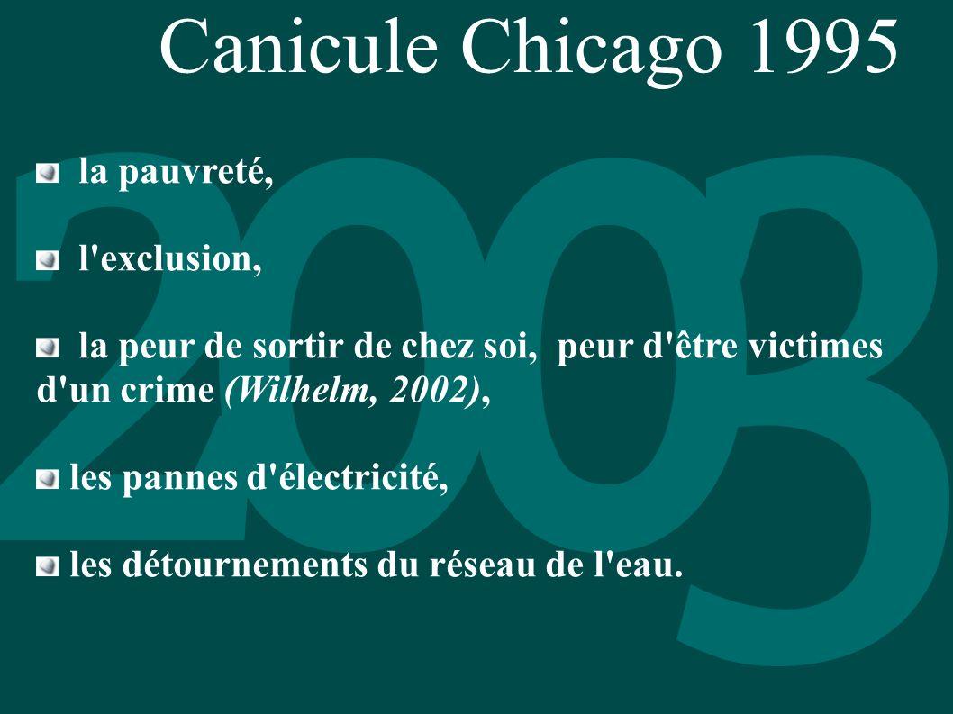 Canicule Chicago 1995 la pauvreté, l'exclusion, la peur de sortir de chez soi, peur d'être victimes d'un crime (Wilhelm, 2002), les pannes d'électrici