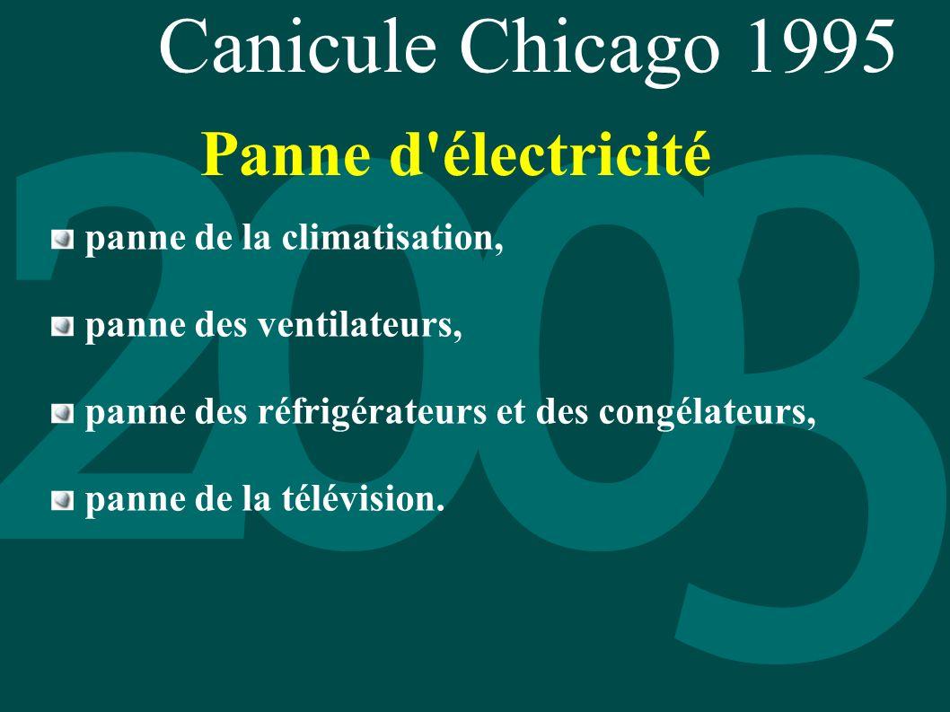 Canicule Chicago 1995 panne de la climatisation, panne des ventilateurs, panne des réfrigérateurs et des congélateurs, panne de la télévision. Panne d