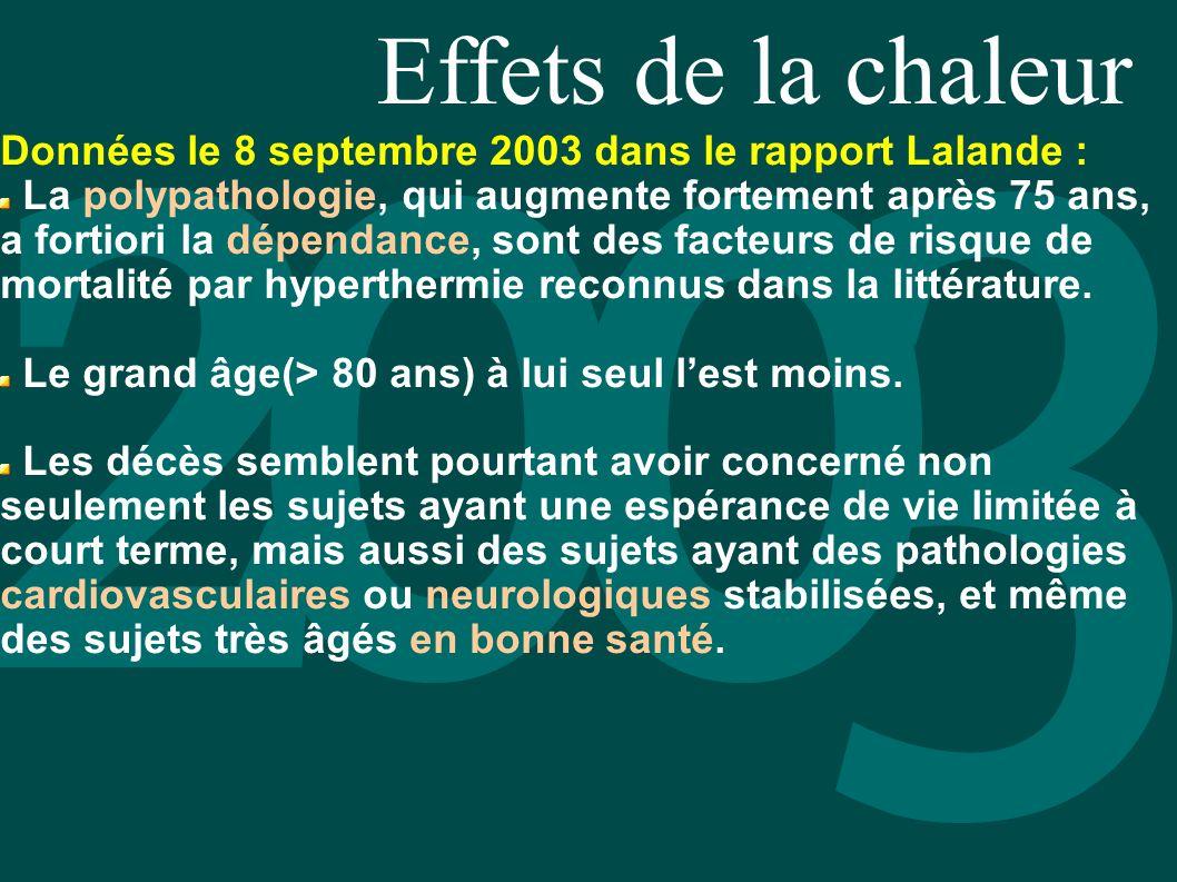 Effets de la chaleur Données le 8 septembre 2003 dans le rapport Lalande : La polypathologie, qui augmente fortement après 75 ans, a fortiori la dépen