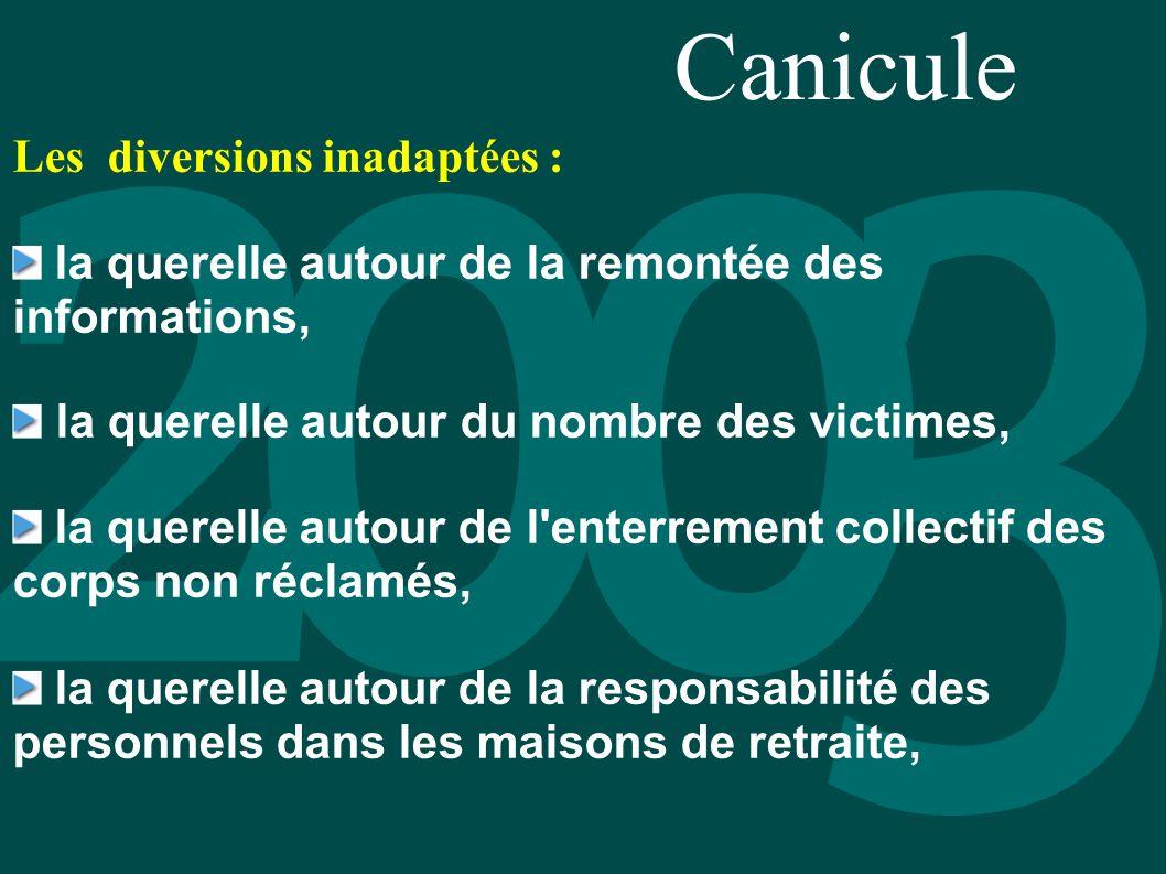 Canicule Les diversions inadaptées : la querelle autour de la remontée des informations, la querelle autour du nombre des victimes, la querelle autour