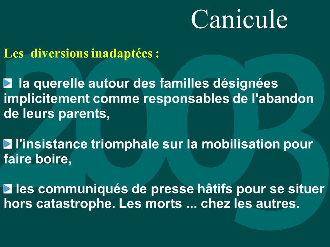 Canicule Les diversions inadaptées : la querelle autour des familles désignées implicitement comme responsables de l'abandon de leurs parents, l'insis