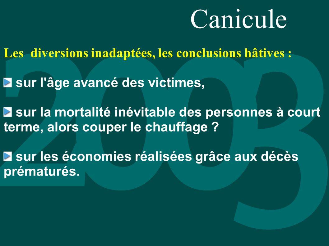 Canicule Les diversions inadaptées, les conclusions hâtives : sur l'âge avancé des victimes, sur la mortalité inévitable des personnes à court terme,