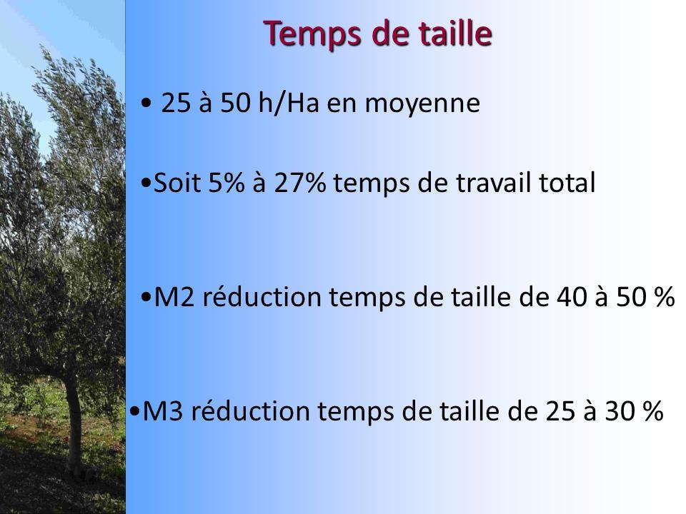 Temps de taille 25 à 50 h/Ha en moyenne Soit 5% à 27% temps de travail total M2 réduction temps de taille de 40 à 50 % M3 réduction temps de taille de