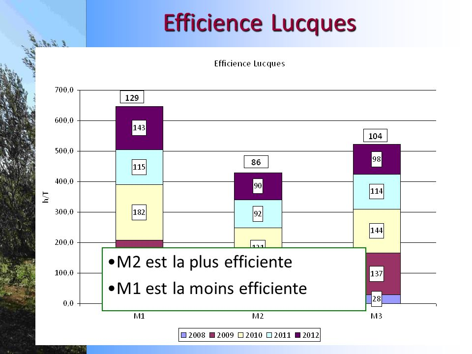 Efficience Lucques M2 est la plus efficiente M1 est la moins efficiente