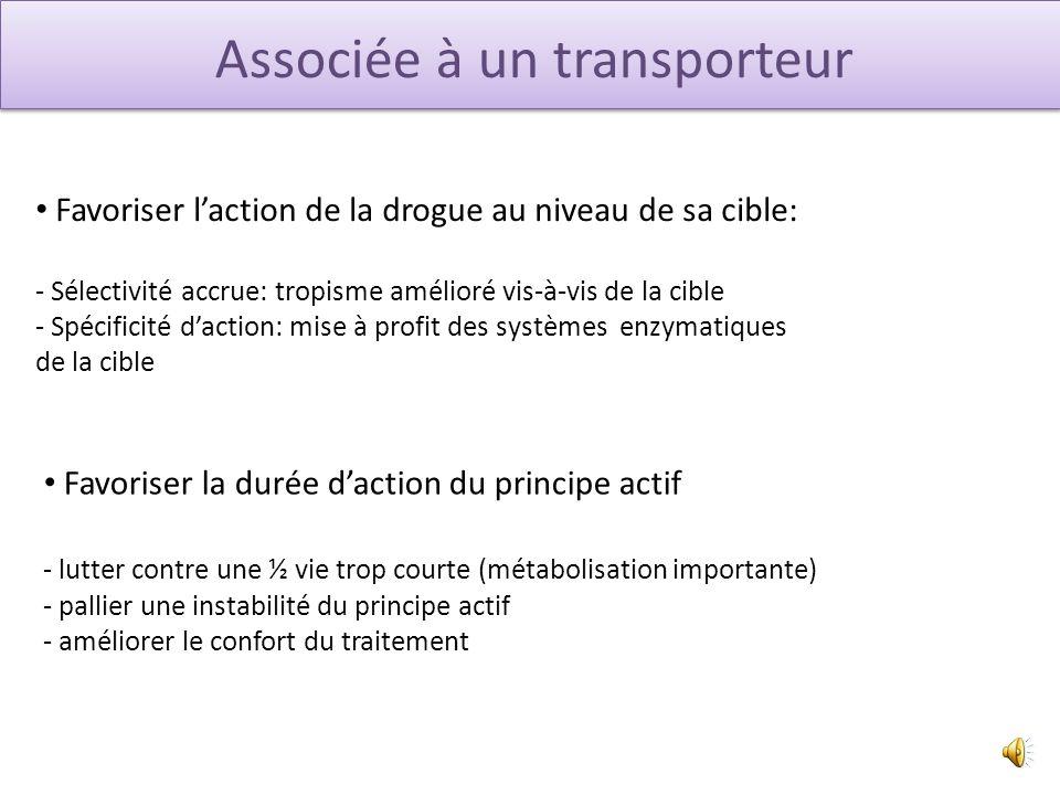 Associée à un transporteur Tripartate prodrug = prodrogue à 3 partenaires