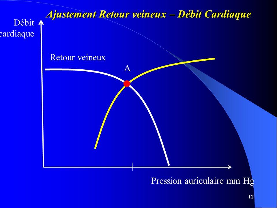 11 Pression auriculaire mm Hg Débit cardiaque Retour veineux Ajustement Retour veineux – Débit Cardiaque Ajustement Retour veineux – Débit Cardiaque A