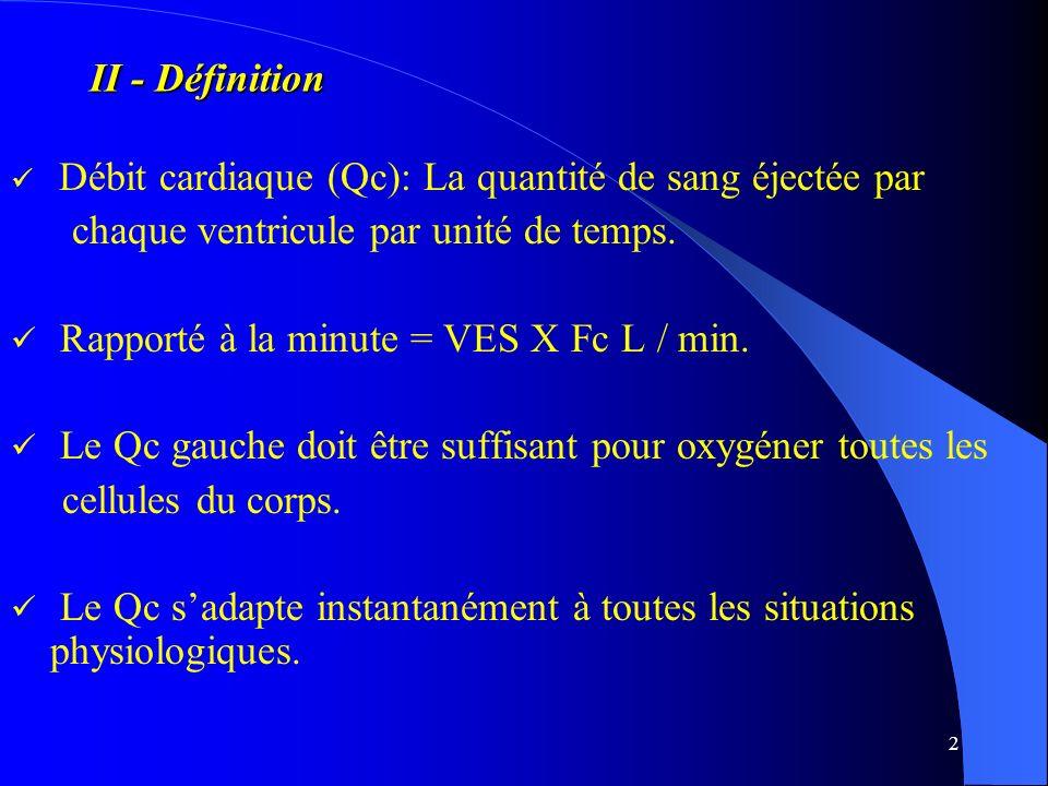 2 II - Définition Débit cardiaque (Qc): La quantité de sang éjectée par chaque ventricule par unité de temps. Rapporté à la minute = VES X Fc L / min.