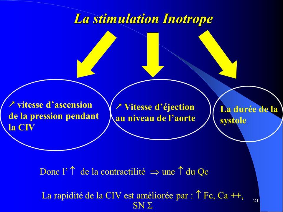 21 La stimulation Inotrope La stimulation Inotrope vitesse dascension de la pression pendant la CIV Vitesse déjection au niveau de laorte La durée de