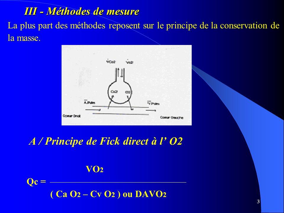 3 III - Méthodes de mesure La plus part des méthodes reposent sur le principe de la conservation de la masse. A / Principe de Fick direct à l O2 VO 2