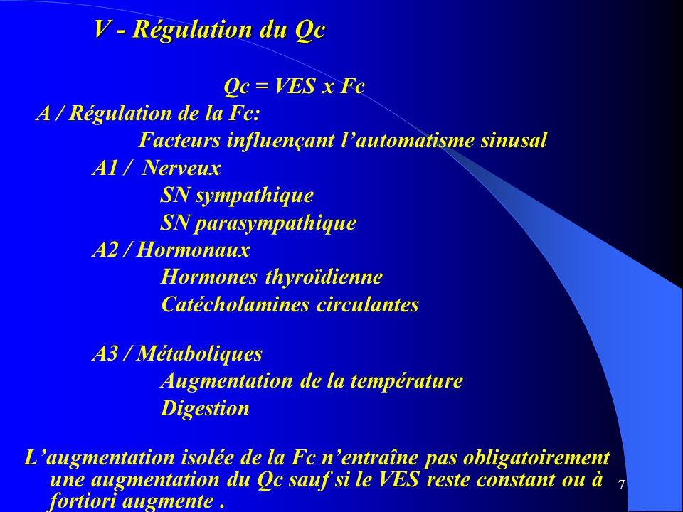 7 V - Régulation du Qc Qc = VES x Fc A / Régulation de la Fc: Facteurs influençant lautomatisme sinusal A1 / Nerveux SN sympathique SN parasympathique