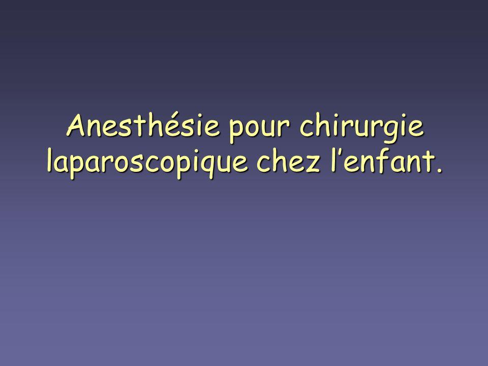 Anesthésie pour chirurgie laparoscopique chez lenfant.