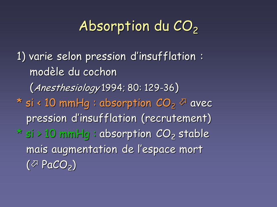 Absorption du CO 2 1) varie selon pression dinsufflation : modèle du cochon modèle du cochon ( Anesthesiology 1994; 80: 129-36 ) ( Anesthesiology 1994