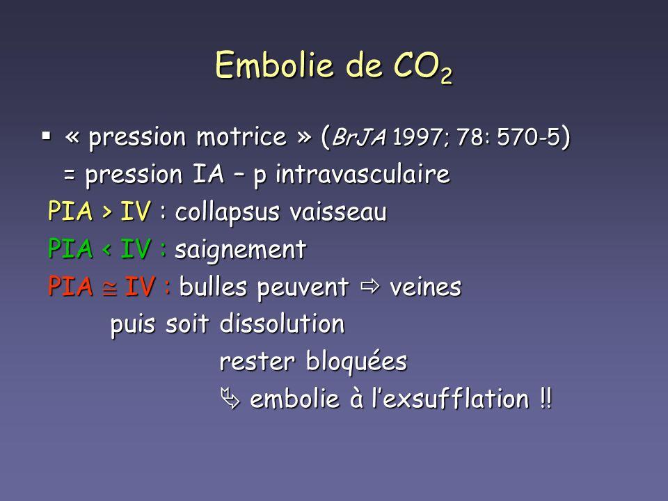 Embolie de CO 2 « pression motrice » ( BrJA 1997; 78: 570-5 ) « pression motrice » ( BrJA 1997; 78: 570-5 ) = pression IA – p intravasculaire = pressi