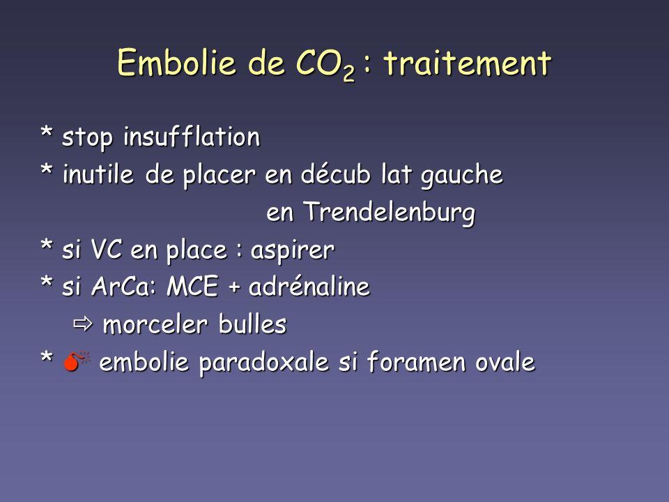 Embolie de CO 2 : traitement * stop insufflation * inutile de placer en décub lat gauche en Trendelenburg en Trendelenburg * si VC en place : aspirer