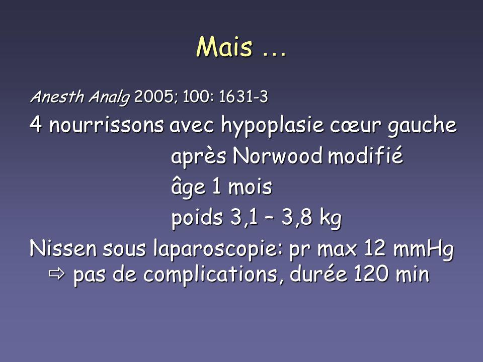 Mais … Anesth Analg 2005; 100: 1631-3 4 nourrissons avec hypoplasie cœur gauche après Norwood modifié après Norwood modifié âge 1 mois âge 1 mois poid