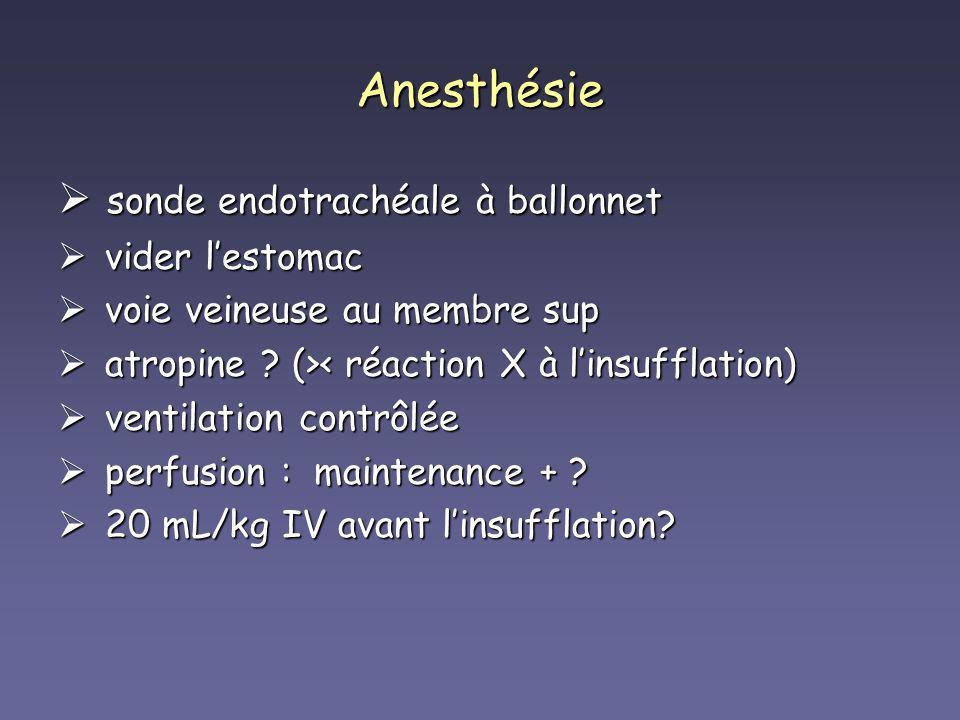 Anesthésie sonde endotrachéale à ballonnet sonde endotrachéale à ballonnet vider lestomac vider lestomac voie veineuse au membre sup voie veineuse au