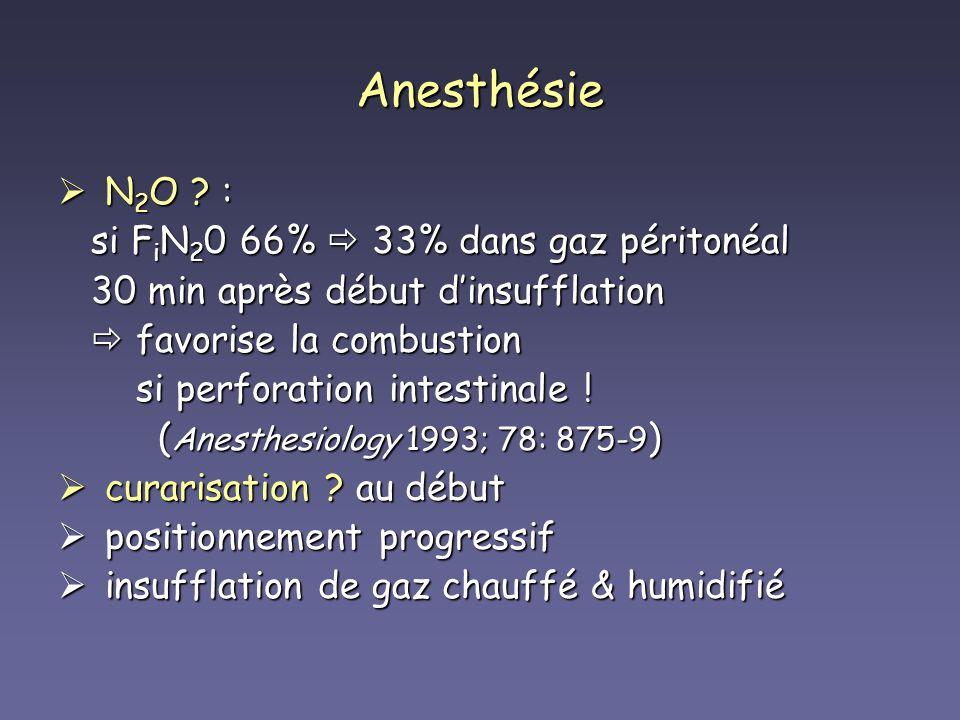 Anesthésie N 2 O ? : N 2 O ? : si F i N 2 0 66% 33% dans gaz péritonéal si F i N 2 0 66% 33% dans gaz péritonéal 30 min après début dinsufflation 30 m