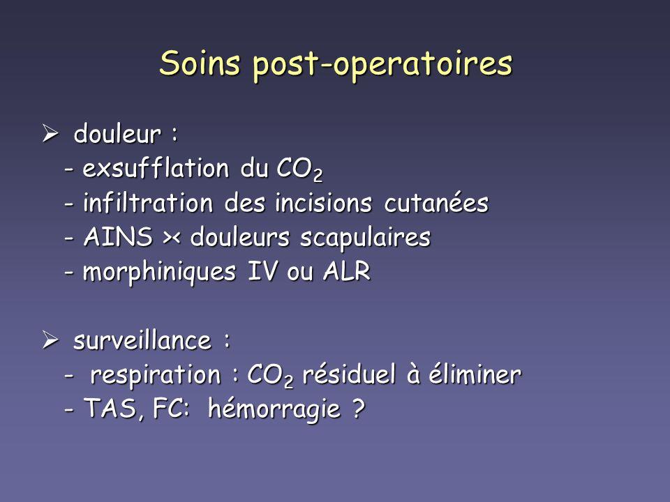 Soins post-operatoires douleur : douleur : - exsufflation du CO 2 - exsufflation du CO 2 - infiltration des incisions cutanées - infiltration des inci