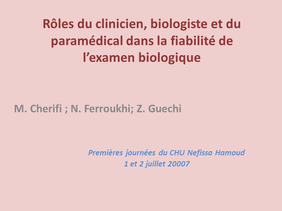 Rôles du clinicien, biologiste et du paramédical dans la fiabilité de lexamen biologique M. Cherifi ; N. Ferroukhi; Z. Guechi Premières journées du CH